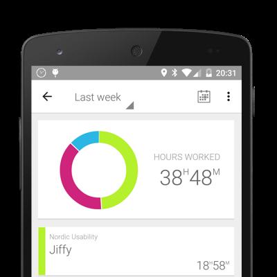 L'interface rapport d'activité de l'application Jiffy
